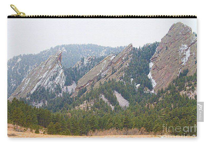 Flatirons Carry-all Pouch featuring the photograph Three Flatirons Boulder Colorado by James BO Insogna