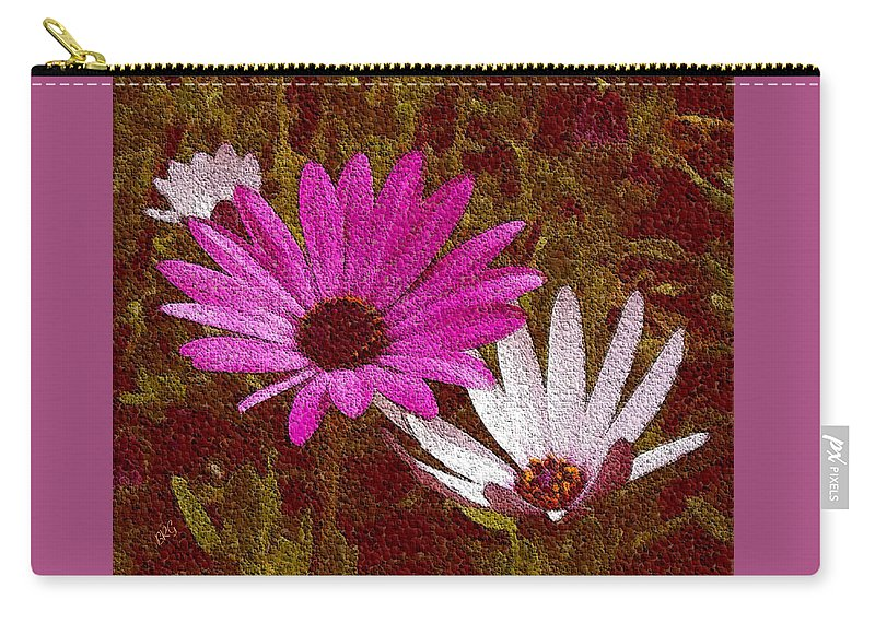 Three Flowers Carry-all Pouch featuring the photograph Three Flowers On Maroon by Ben and Raisa Gertsberg