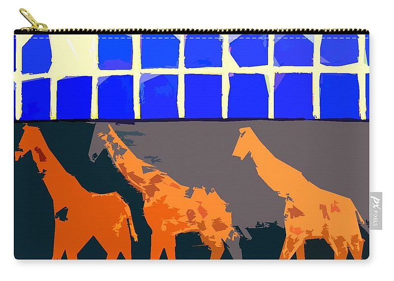 Giraffes Carry-all Pouch featuring the painting Three Giraffes by Patrick J Murphy