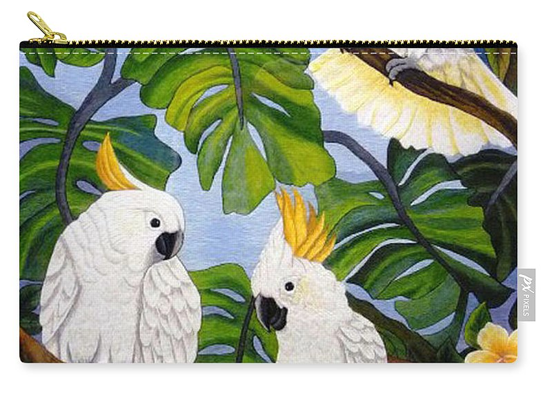 Parrot Carry-all Pouch featuring the tapestry - textile Three Is A Crowd Hand Embroidery by To-Tam Gerwe