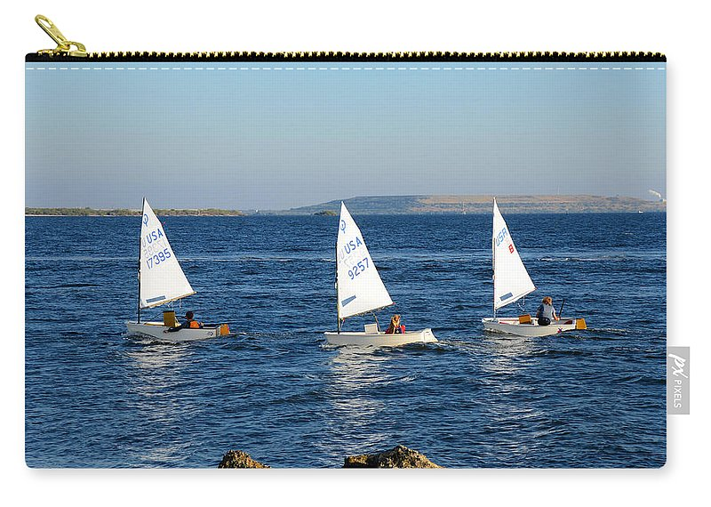 Sailing Carry-all Pouch featuring the photograph Three Little Boats by David Lee Thompson