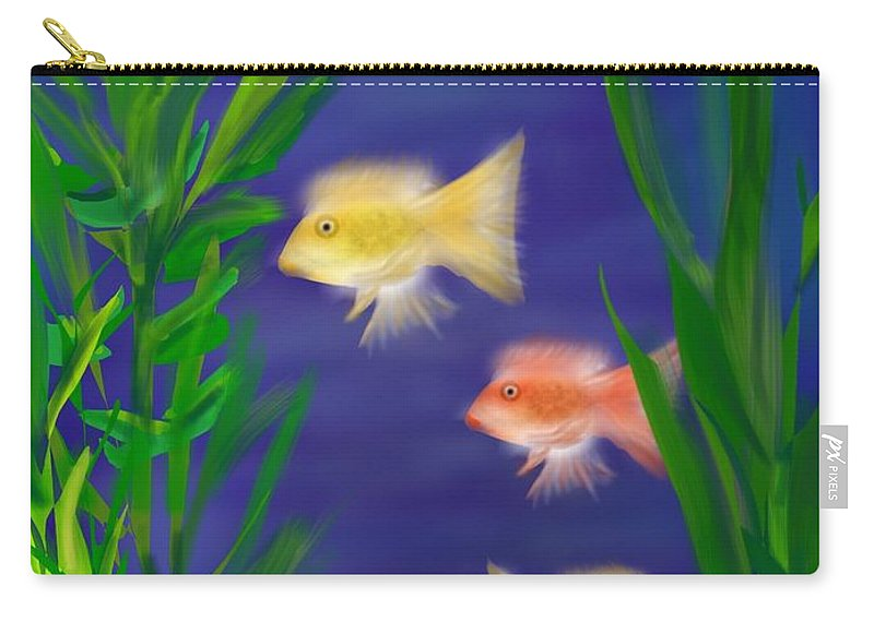 Tropical Fish Carry-all Pouch featuring the digital art Three Little Fish by Christine Fournier