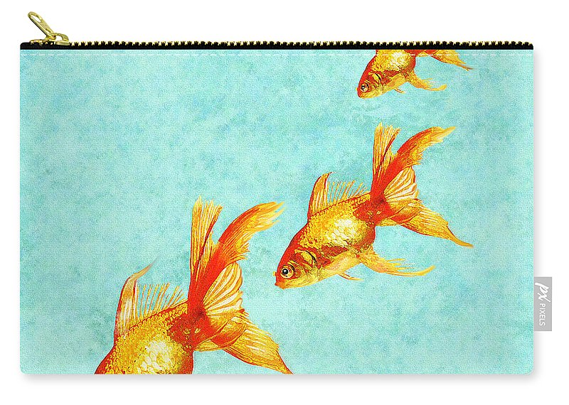 Fish Carry-all Pouch featuring the digital art Three Little Fishes by Jane Schnetlage