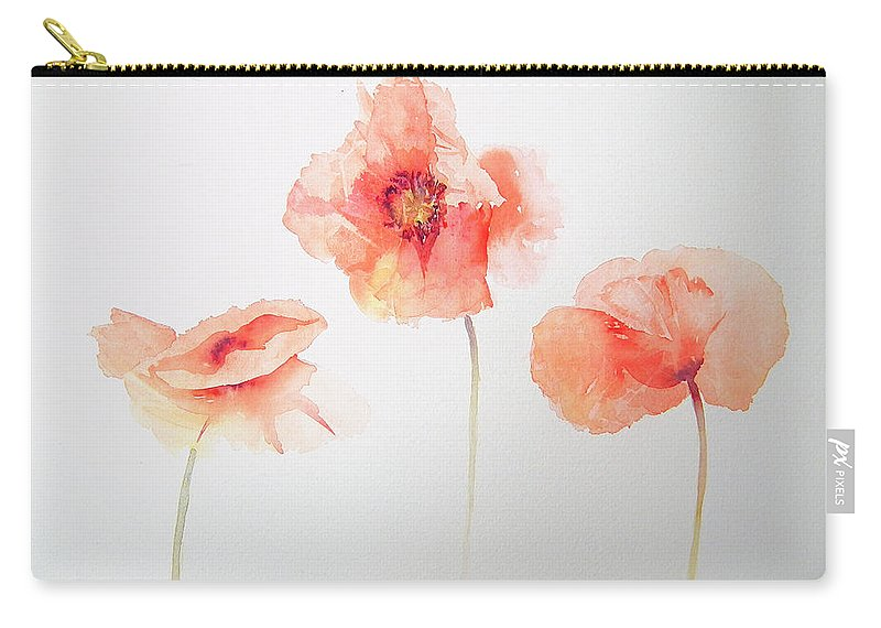 Red Carry-all Pouch featuring the painting Three More Of A Kind by Ruth Harris