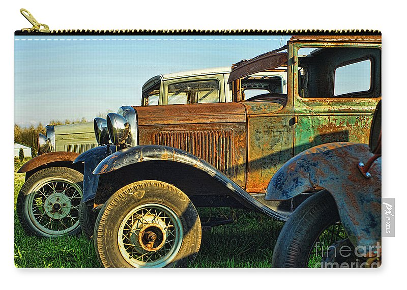Old Cars Carry-all Pouch featuring the photograph Three Old Fords by Randy Harris