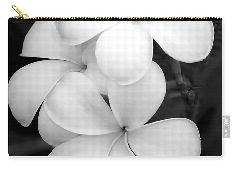 Macro Carry-all Pouch featuring the photograph Three Plumeria Flowers In Black And White by Sabrina L Ryan