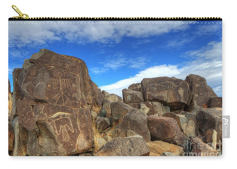 Three Rivers Carry-all Pouch featuring the photograph Three Rivers Petroglyphs 2 by Bob Christopher