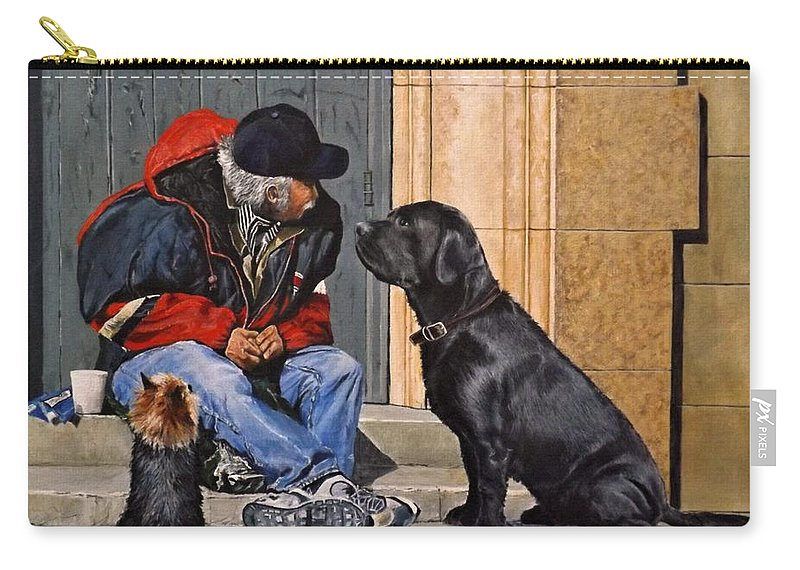 Animal Carry-all Pouch featuring the painting Three Strays by Barry BLAKE