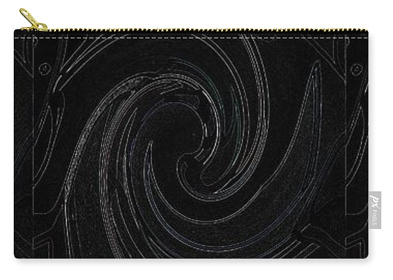 Abstract Carry-all Pouch featuring the digital art Three Swirls On Black by Helena Tiainen