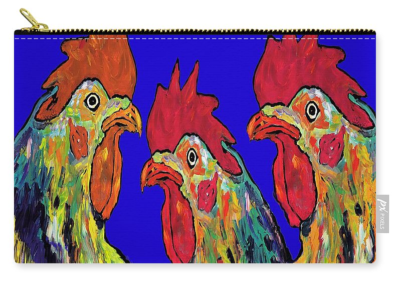 Roosters Carry-all Pouch featuring the painting Three Tenors by Dale Moses