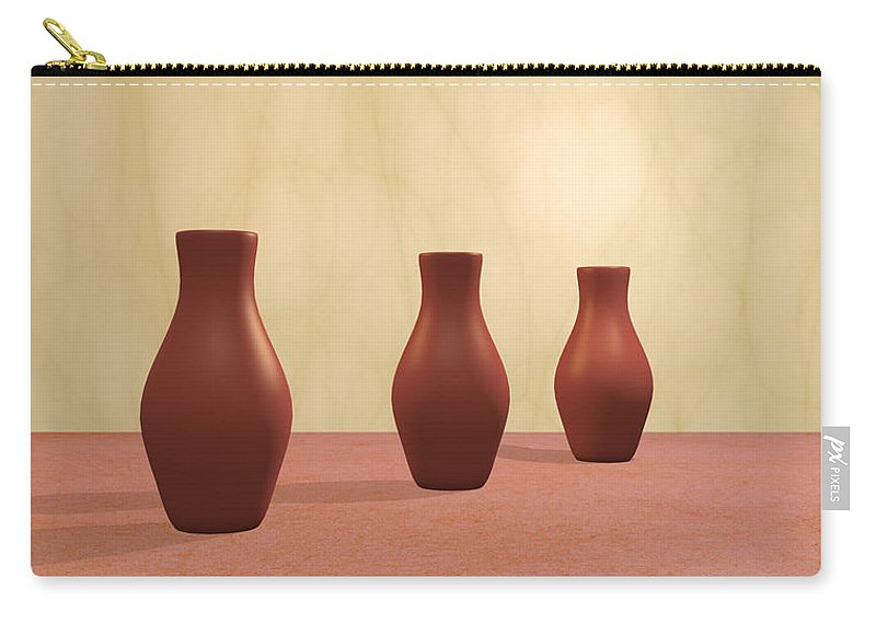 Decorative Carry-all Pouch featuring the digital art Three Vases by Gabiw Art