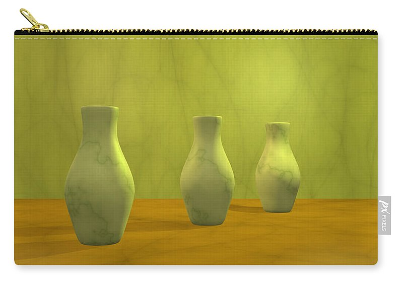 Still Life Carry-all Pouch featuring the digital art Three Vases II by Gabiw Art