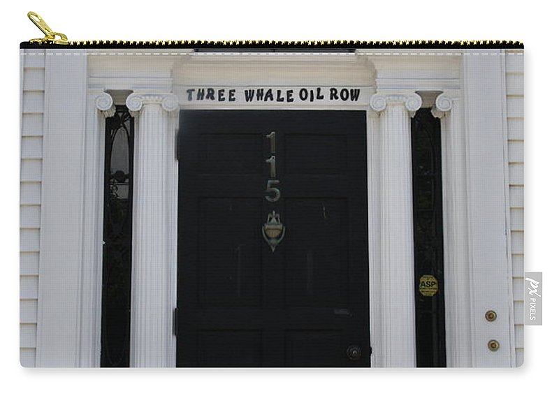 Whale Oil Row Carry-all Pouch featuring the photograph Three Whale Oil Row - Black Door - New London by Christiane Schulze Art And Photography