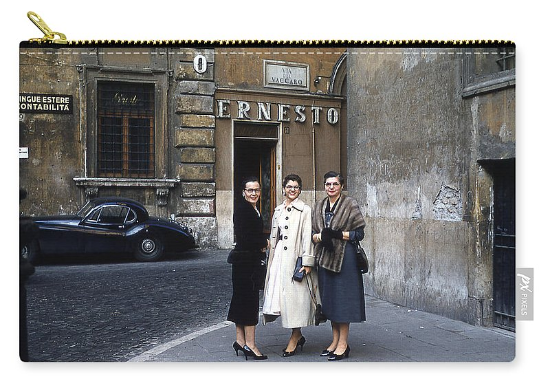 Three Women Carry-all Pouch featuring the digital art Three Women Mid Century by Cathy Anderson