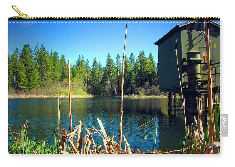 Grace-lake Carry-all Pouch featuring the photograph Through The Reeds At Grace Lake by Joyce Dickens