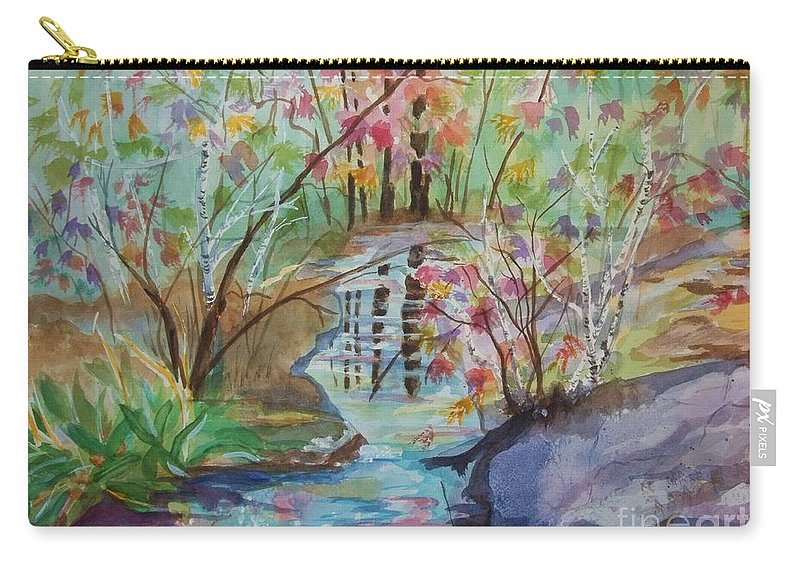 Thunder Mountain Carry-all Pouch featuring the painting Thunder Mountain Mystery by Ellen Levinson