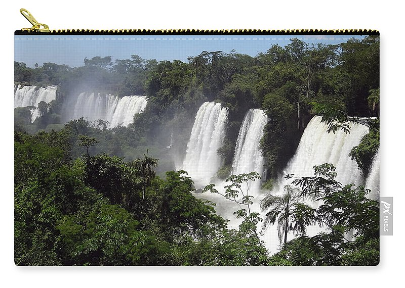 Waterfall Carry-all Pouch featuring the photograph Thundering Falls by Ginny Barklow