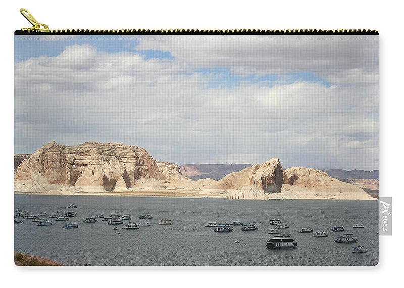 Lake Carry-all Pouch featuring the photograph Thunderstorm Atmosphere Over Lake Powell by Christiane Schulze Art And Photography