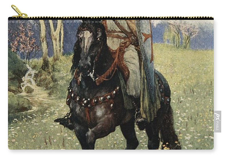 Myth Carry-all Pouch featuring the drawing Thus It Was That Parsifal Began by Ferdinand Leeke