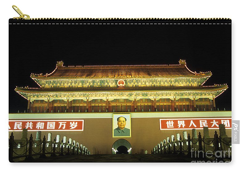 Tiananmen Gate Carry-all Pouch featuring the photograph Tiananmen Gate At Night Beijing China by James Brunker