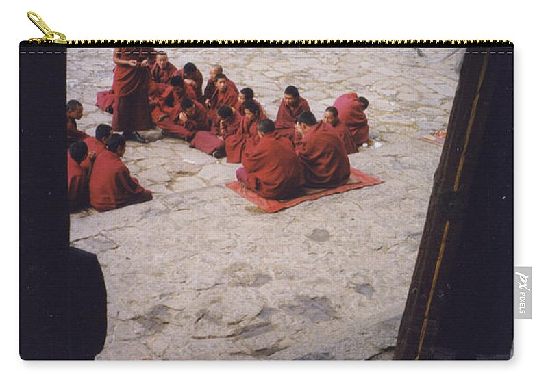 Tibet Carry-all Pouch featuring the photograph Tibet Sera Debate by First Star Art