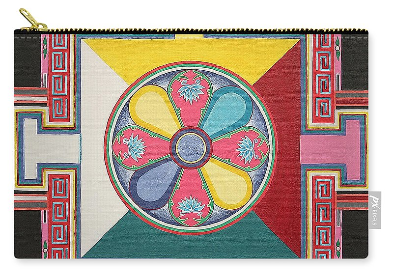 Flower Paintings Carry-all Pouch featuring the painting Tibetan Mandala by Maya B