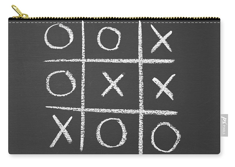 Tic-tac-toe Carry-all Pouch featuring the photograph Tic-tac-toe On A Chalkboard by Chevy Fleet