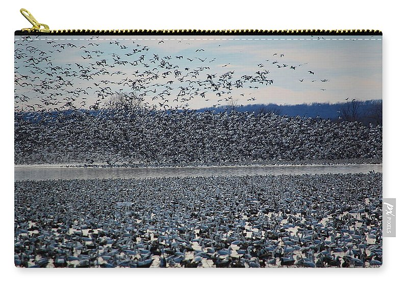 Migration Carry-all Pouch featuring the photograph Tidal Wave Of Geese by Kim Blaylock