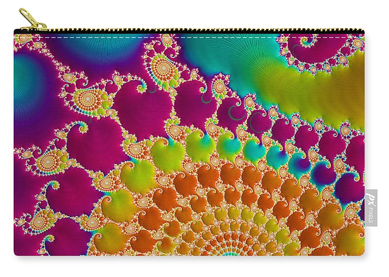 Rainbow Carry-all Pouch featuring the digital art Tie Dye Spiral by Heidi Smith