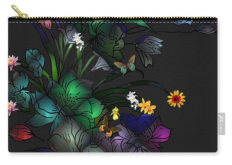 Liane Wright Carry-all Pouch featuring the digital art Tiffany Floral Design by Liane Wright