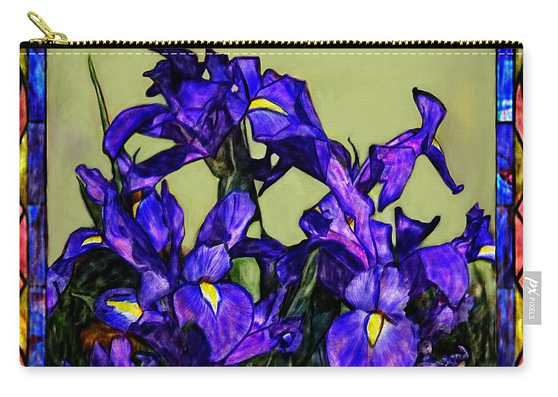 Flowers Carry-all Pouch featuring the painting Tiffany Style Blue Iris by Portraits By NC