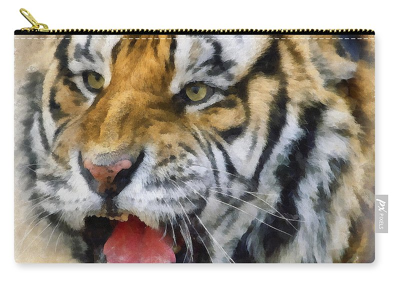Aquarell Carry-all Pouch featuring the photograph Tiger 006 by Ingrid Smith-Johnsen