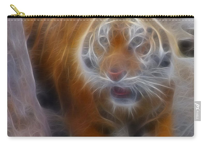 Tiger Carry-all Pouch featuring the photograph Tiger-5362-fractal by Gary Gingrich Galleries