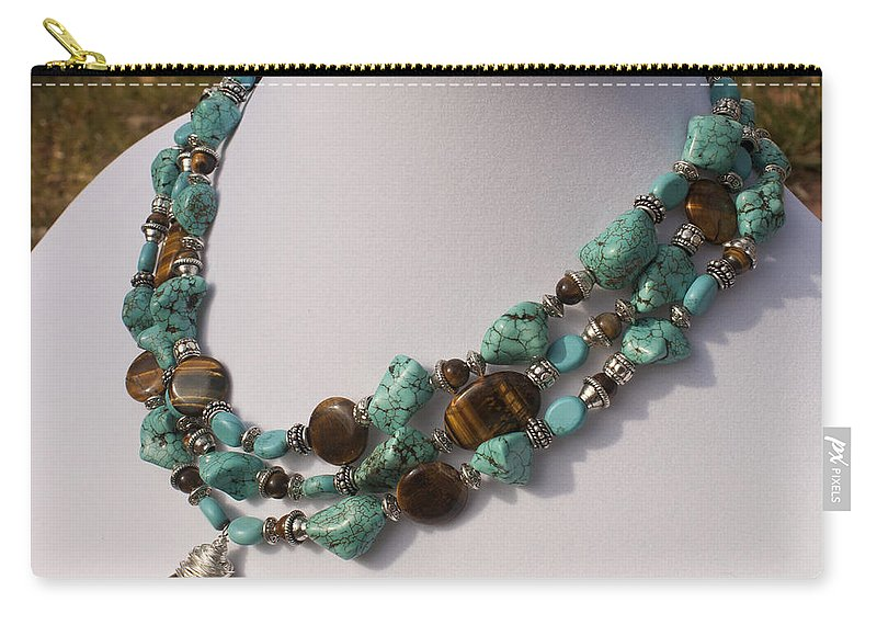 Original Handmade Jewelry Carry-all Pouch featuring the jewelry Tiger Eye And Turquoise Triple Strand Necklace 3640 by Teresa Mucha