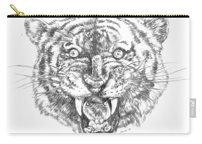 Tiger Carry-all Pouch featuring the drawing Tiger Head by Bryan Bustard