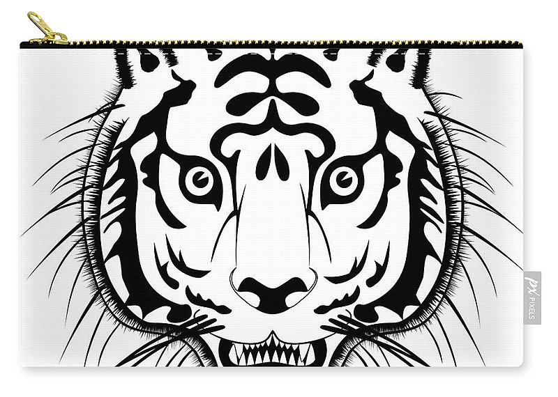 Animal Carry-all Pouch featuring the digital art Tiger Head by Michal Boubin