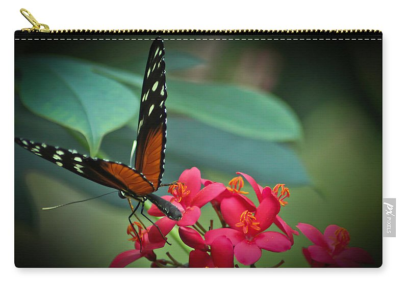 Tiger Longwing Butterfly Photographs Carry-all Pouch featuring the photograph Tiger Longwing Butterfly by Joann Copeland-Paul