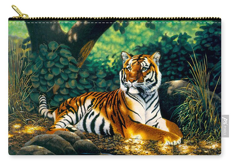 Animal Carry-all Pouch featuring the photograph Tiger by MGL Meiklejohn Graphics Licensing