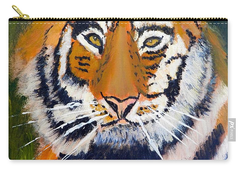 Impressionism Carry-all Pouch featuring the painting Tiger by Pamela Meredith