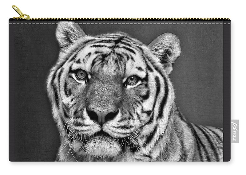 e1ad951e0 Tiger Carry-all Pouch featuring the photograph Tiger Portrait - Black And  White by Nikolyn