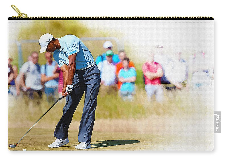 Canada Carry-all Pouch featuring the digital art Tiger Woods - The British Open Golf Championship by Don Kuing