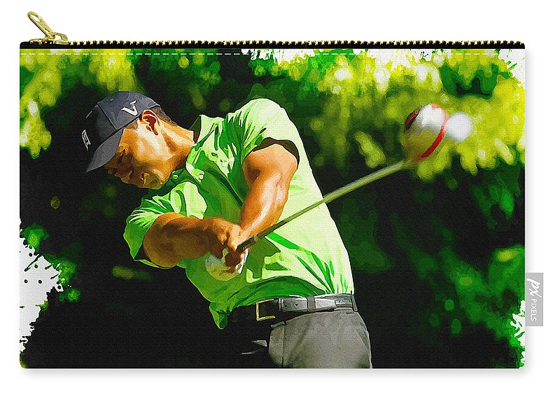 Canada Carry-all Pouch featuring the digital art Tiger Woods - Wgc- Cadillac Championship by Don Kuing