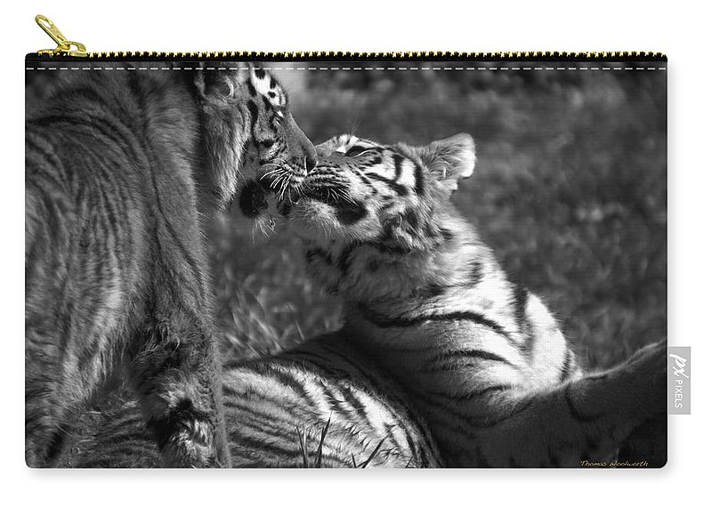 Animals Carry-all Pouch featuring the photograph Tigers Kissing by Thomas Woolworth
