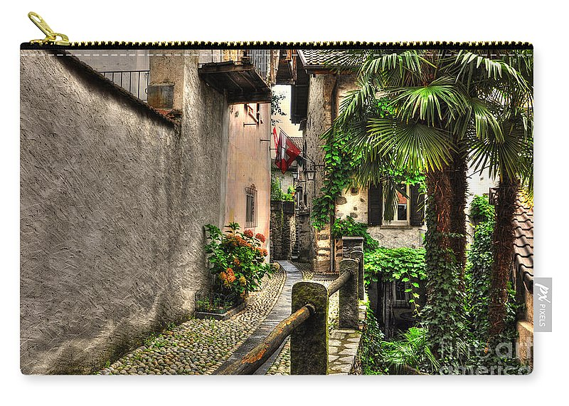 Alley Carry-all Pouch featuring the photograph Tight Alley With Palm Trees by Mats Silvan