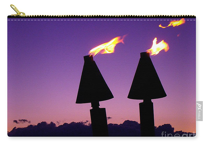 Tiki Carry-all Pouch featuring the photograph Tiki Torches by Jerome Stumphauzer