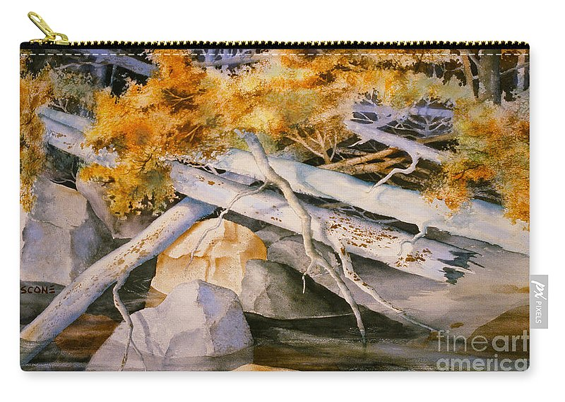 Timber Tumble Carry-all Pouch featuring the painting Timber Tumble by Teresa Ascone