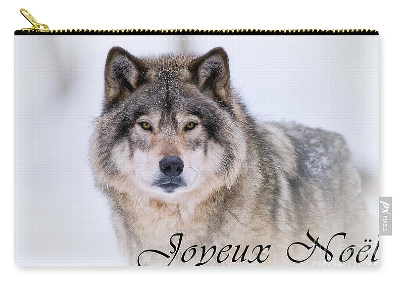 Christmas Wolf.Timber Wolf Christmas Card French 20 Carry All Pouch