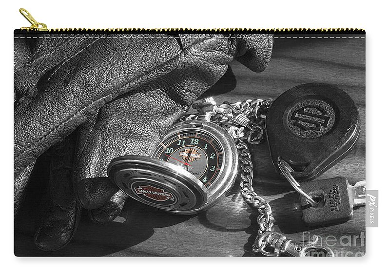 Harley Davidson Carry-all Pouch featuring the photograph Time For A Ride by Linda Lees