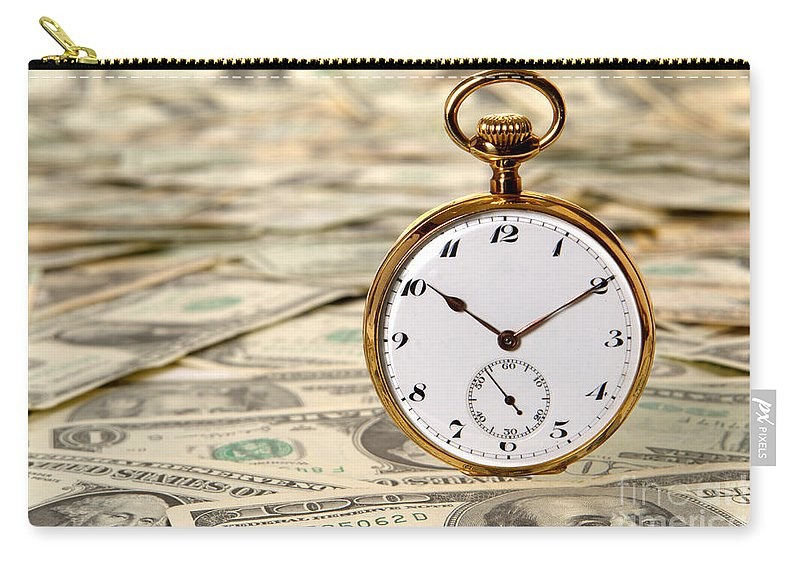 Cash Carry-all Pouch featuring the photograph Time Is Over Money by Olivier Le Queinec
