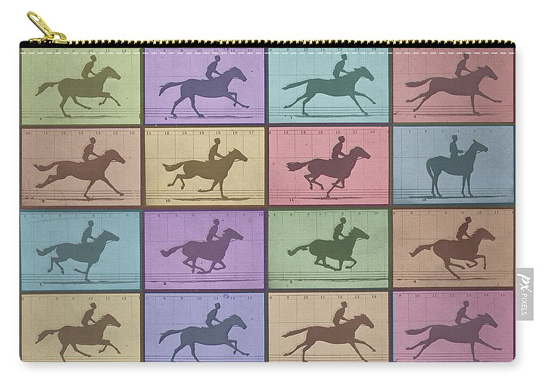 Horse Carry-all Pouch featuring the painting Time Lapse Motion Study Horse Color by Tony Rubino